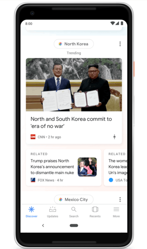 Google Discover feed update