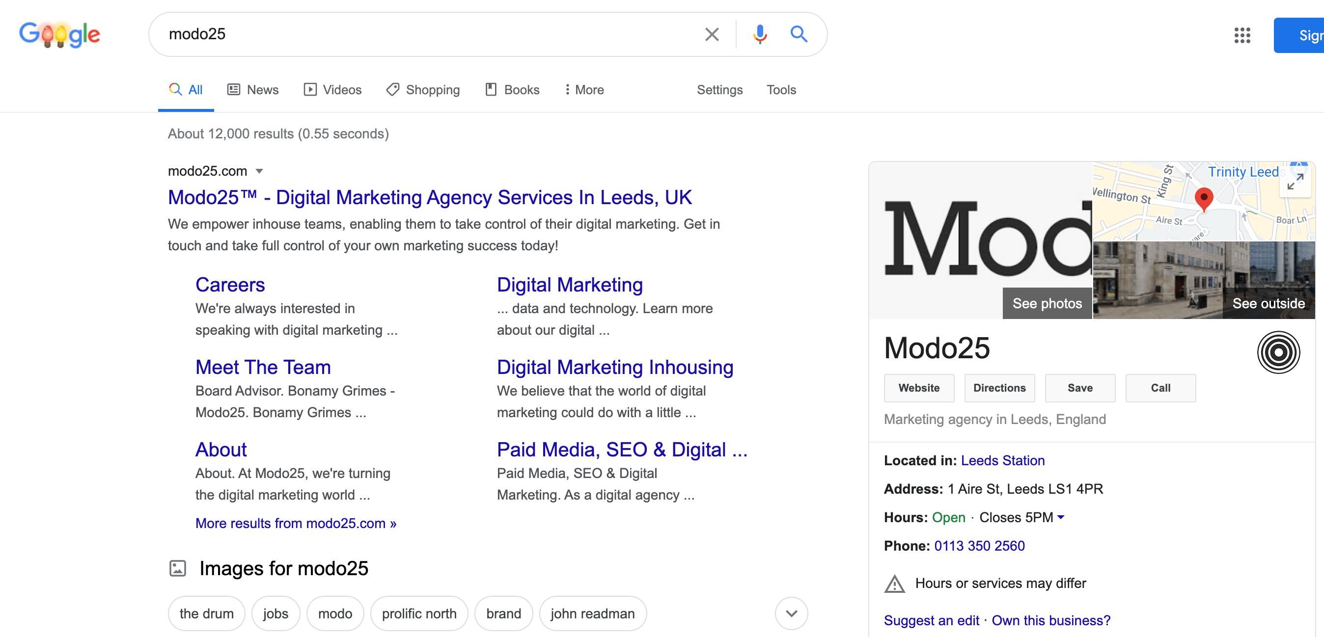Modo25 Google business profile in SERP