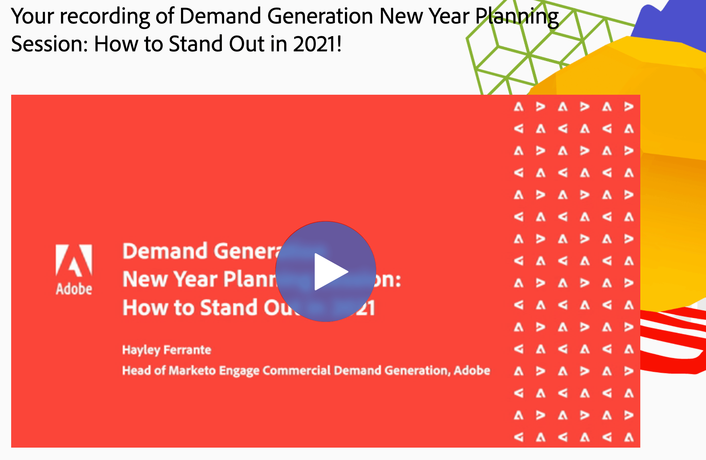 Hayley Ferrante's webinar, 'How to Stand Out in 2021'