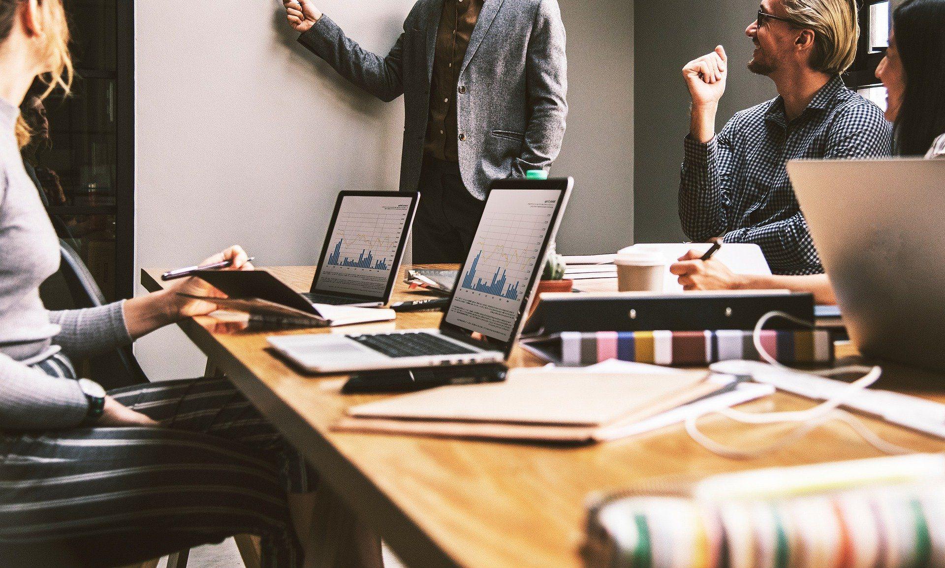 Steep increase in demand for digital marketing jobs, people working in a digital office