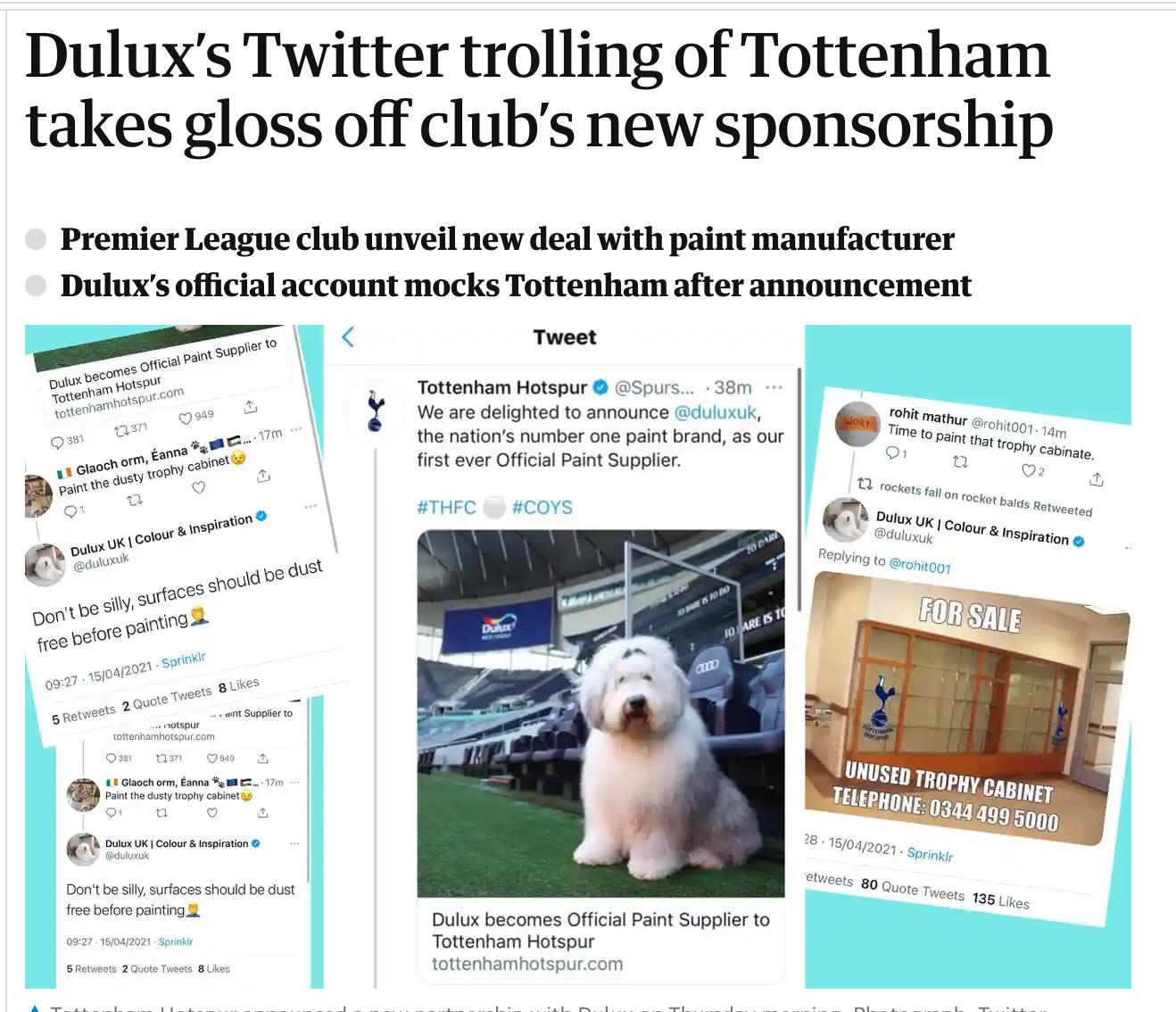 Dulux's social media blunder about Tottenham Hotspur