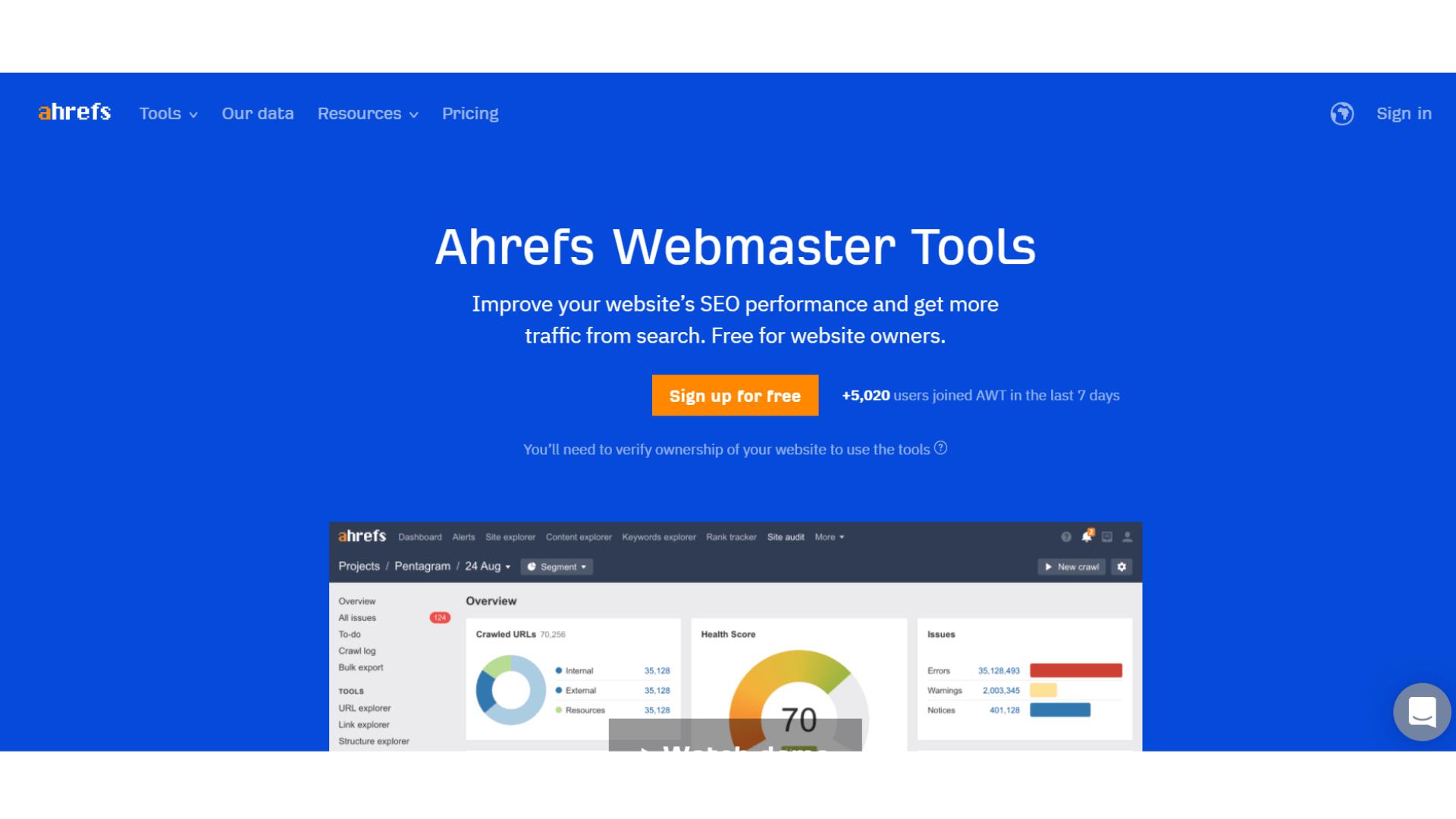 Screenshot of Ahrefs