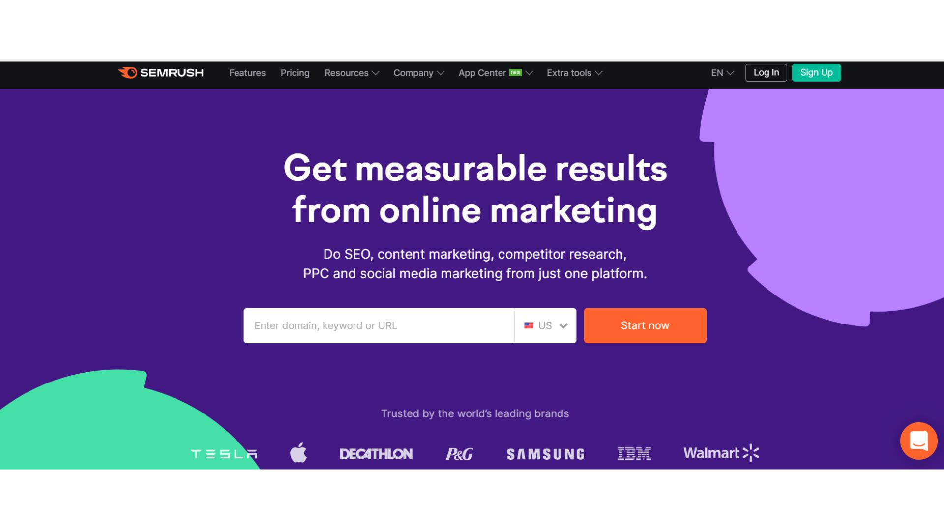 Screenshot of SEMrush